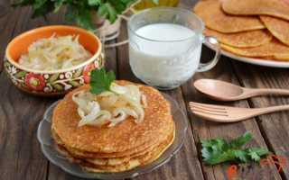 Вкусные блины с горохом и жареным луком – рецепт пошаговый с фото