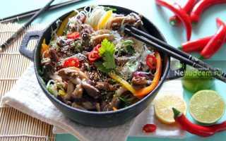 Фунчоза с вешенками – рецепт пошаговый с фото