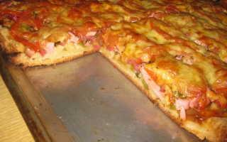 Быстрая пицца на дрожжевом-майонезном тесте – рецепт пошаговый с фото