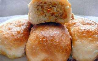 Пирожки с квашеной капустой и картофелем на сковороде – рецепт пошаговый с фото