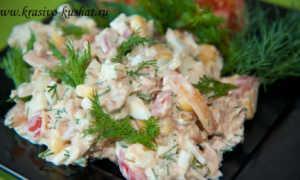 Салат с консервированной рыбой и кукурузой – рецепт пошаговый с фото