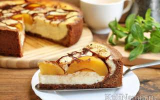 Открытый пирог с персиками – рецепт пошаговый с фото