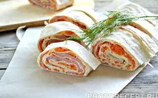 Рулет из лаваша с корейской морковкой и ветчиной – рецепт пошаговый с фото