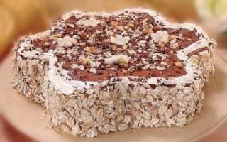 Торт без выпечки из овсяного печенья и бананов – рецепт пошаговый с фото
