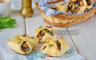 Слойки с курице, грибами и сыром – рецепт пошаговый с фото