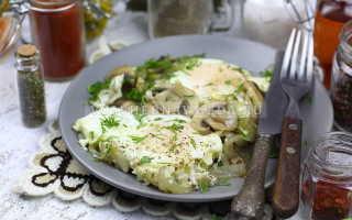 Яичница с грибами и луком – рецепт пошаговый с фото