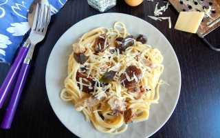 Спагетти с курицей и грибами в сливочно-чесночном соусе – рецепт пошаговый с фото