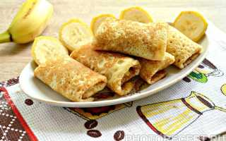 Канапе из блинчиков с бананом – рецепт пошаговый с фото