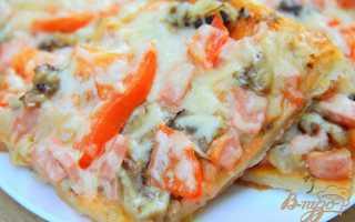Пицца с грибами и колбасой на бездрожжевом тесте – рецепт пошаговый с фото