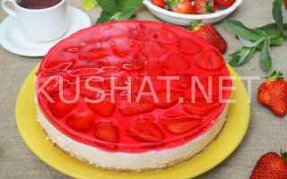 Клубничный торт без выпечки – рецепт пошаговый с фото