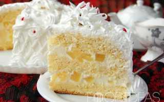 Простой бисквитный торт с ананасами – рецепт пошаговый с фото