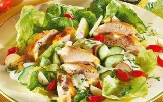 Салат с куриной грудкой и овощами – рецепт пошаговый с фото