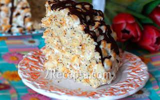 Торт без выпечки из крекера – рецепт пошаговый с фото