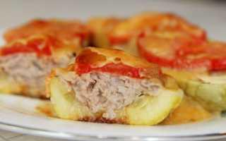 Кабачки, фаршированные курицей на сковороде – рецепт пошаговый с фото