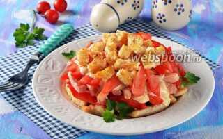 Салат с курицей, ветчиной и гренками – рецепт пошаговый с фото