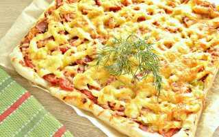 Пицца с копченой колбасой и сыром – рецепт пошаговый с фото