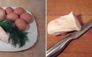 Яичница с салом и зеленью – рецепт пошаговый с фото